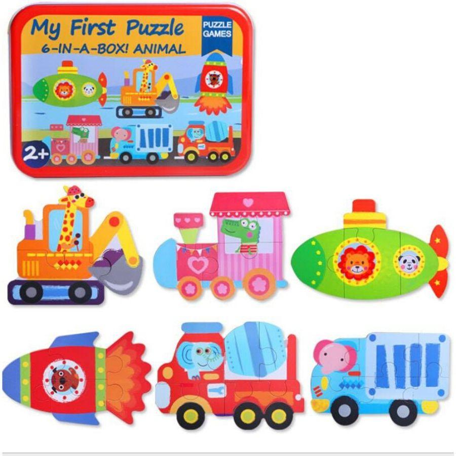 Hộp 6 tranh ghép hình my first puzzle hộp sắt