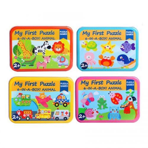 Hộp 6 tranh ghép hình my first puzzle hộp sắt dành cho bé