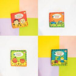 Combo 4 cuốn sách vải màu song ngữ lật giở cho bé