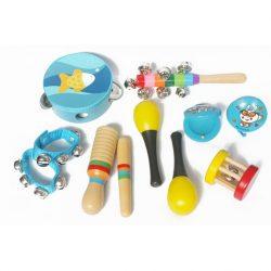 Hộp nhạc cụ gỗ nhiều loại giành cho bé – Màu xanh
