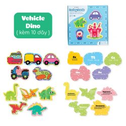 Đồ Chơi Xỏ Dây Cho Trẻ Lalala Baby-Dino+Vehicle