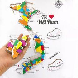 Xếp Hình Sáng Tạo Bằng Gỗ Bản Đồ Việt Nam